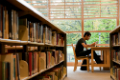 A student studying in Penrose Library
