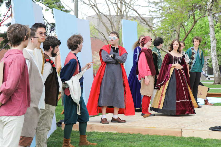 Eric Anderson '18 (center), an English major, strikes an historical pose along with other Whitties.