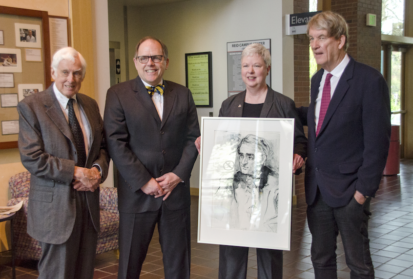 Whitman President Kathleen Murray holds a sketch of Reid. Flanking her from left to right: Whitman Presidents Emeritus Skotheim, George Bridges and Tom Cronin.