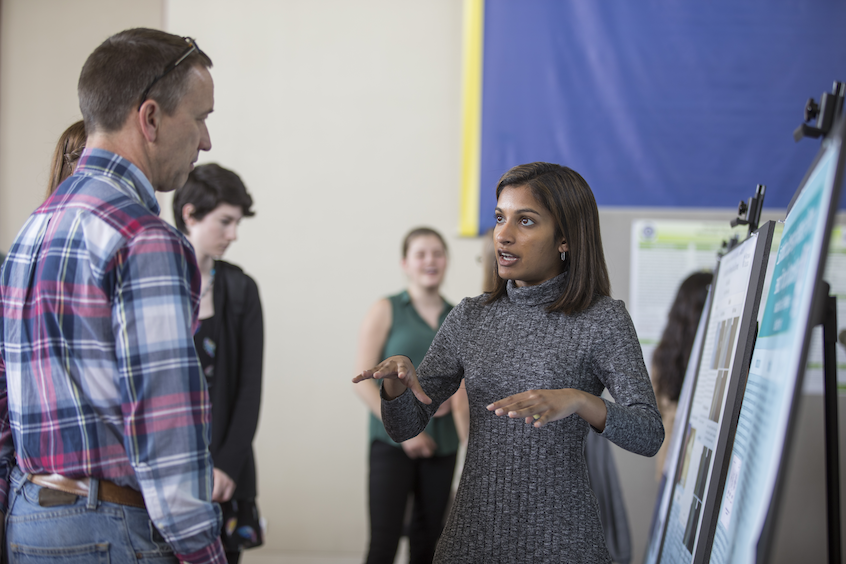 "Neha Naidoo '17, a race and ethnic studies major and chemistry minor, discusses her research on ""EsaI Inhibition: Suppressing Virulence of Pantoea stewartii Through Quorum Sensing"" during the poster session."