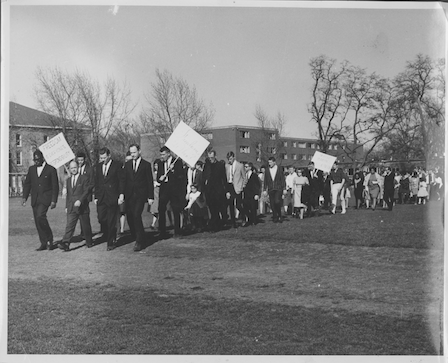 Locals convene at Whitman in 1965 to support King in Alabama. Photo courtesy Whitman College and Northwest Archives
