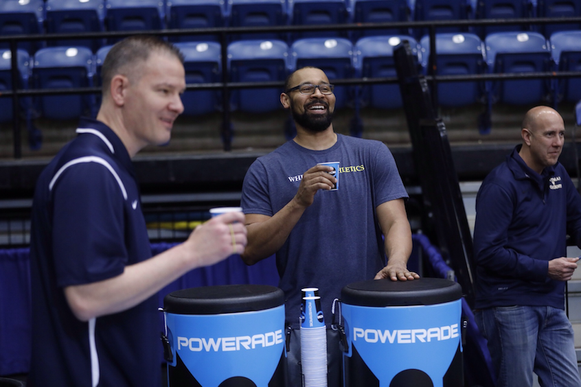 Bridgeland (left) and Assistant Coach Stephen Garnett (center) share a light moment between workouts, as Scott Shields, assistant athletics director of athletics for NCAA Division III compliance at Whitman, looks on.