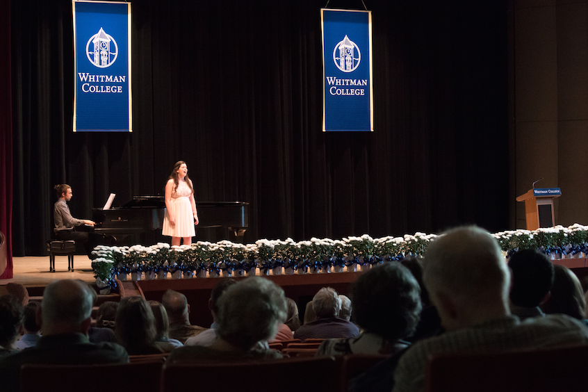 "Music performance and psychology major Olivia Coackley '17 sings the Gershwin brothers' standard, ""Love Is Here to Stay."""