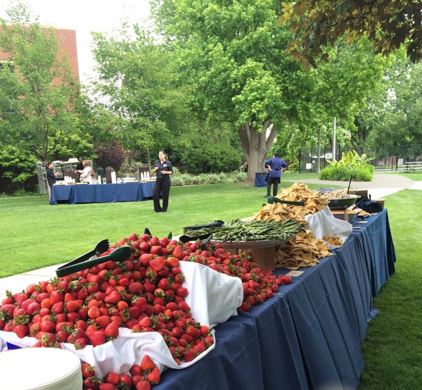 Bon Appétit staff prepare their annual Commencement spread last year. Photo via Whitman College Twitter