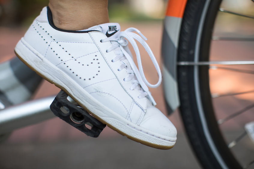 """I'm on a Nike bike and wearing my favorite shoe, the Tennis Classic Ultra Sneaker,"" she says, ""because it is comfortable and goes with everything."""