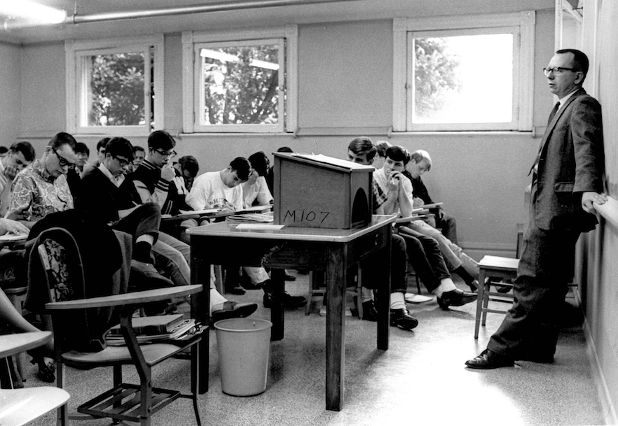 From the Whitman College and Northwest Archives: Tom Edwards teaching a class in the 1960s.