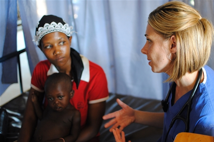 Stephanie Van Dyke with an Engeye Clinic patient