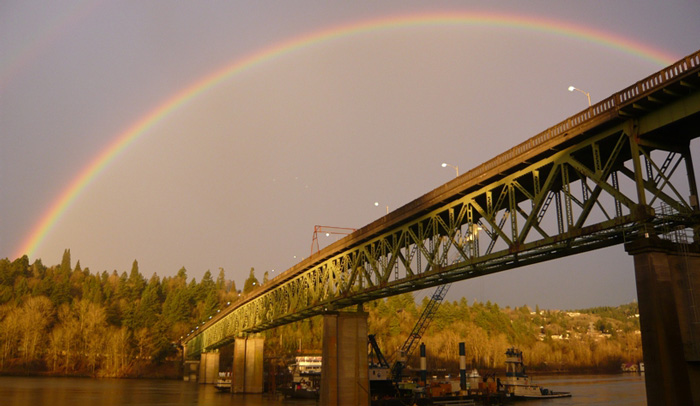 Sellwood Bridge in front of rainbow, Portland, Oregon