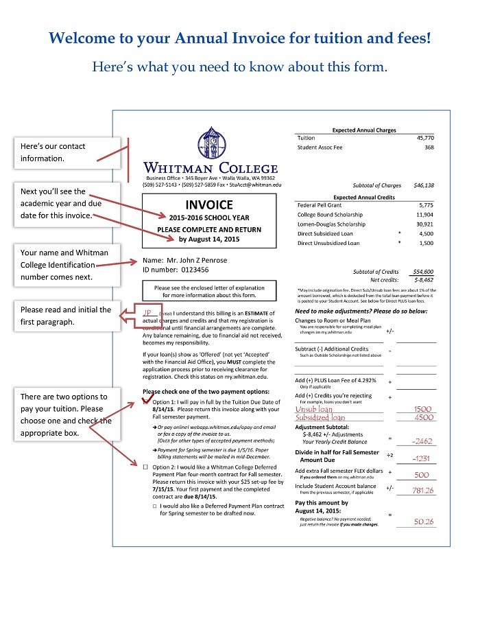 Invoice Example. Student Accounts Annual Invoice Example | Whitman