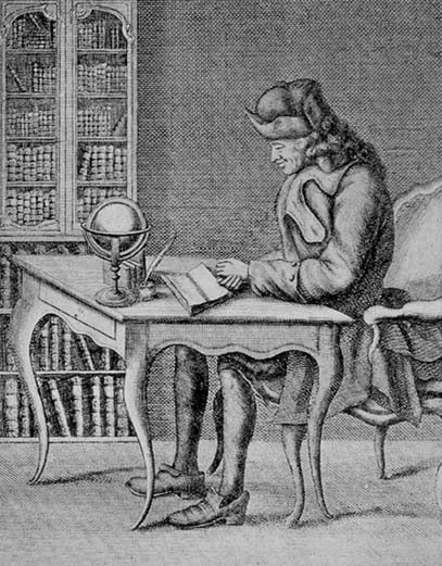 Voltaire at writing desk