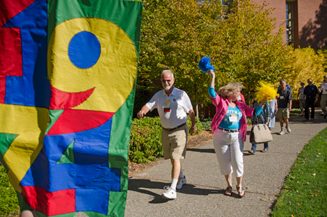 Cheering on the masses at the 2014 Whitman College Reunion