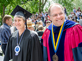U.S. Secretary of the Interior Sally Jewell and Whitman College President George Bridges at the 2014 Commencement