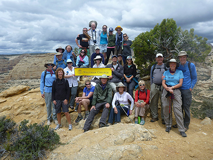 Alumni, parents, and friends hiked up the Wagon Wheel Point Overlook on the Yampa River during a recent Alumni Association trip with Professors Bob Carson and Don Snow.