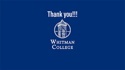 A Big THANK YOU from Whitman College