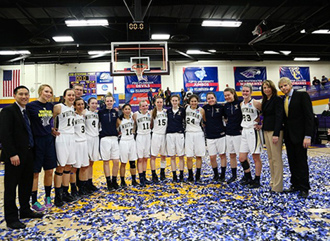 Whitman Women's Basketball team at the NCAA Division III women's basketball championship