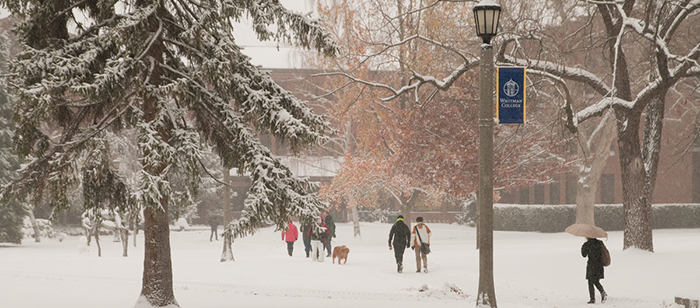 A snowy day on Whitman College campus.