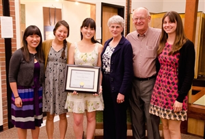 Christina Tamaru '12 with Carlstrom Award certificate