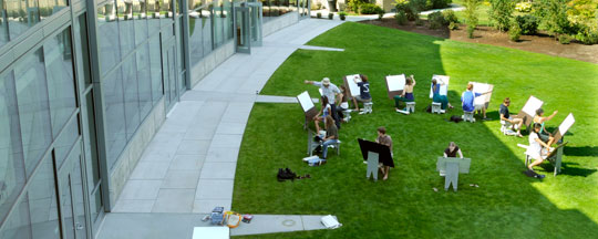 Fouts Center Exterior - students painting