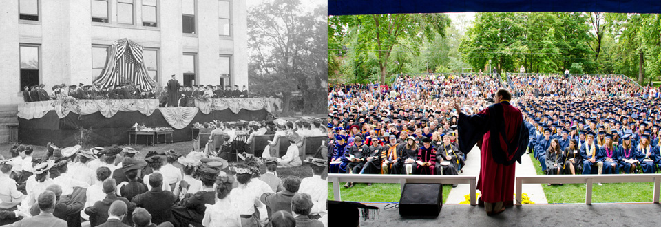 Left: Commencement 1904, Right: Commencement 2013