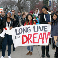 Whitman students honor the legacy of Dr. Martin Luther King, Jr. with a candlelight peace march