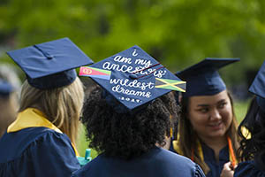Students preparing for commencement ceremony at Whitman College