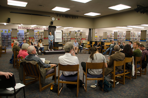 "Whitman students and community members meet at the Walla Walla Public library to discuss ""Teaching Justice: Civil Rights Education in Walla Walla Schools"" on April 13."