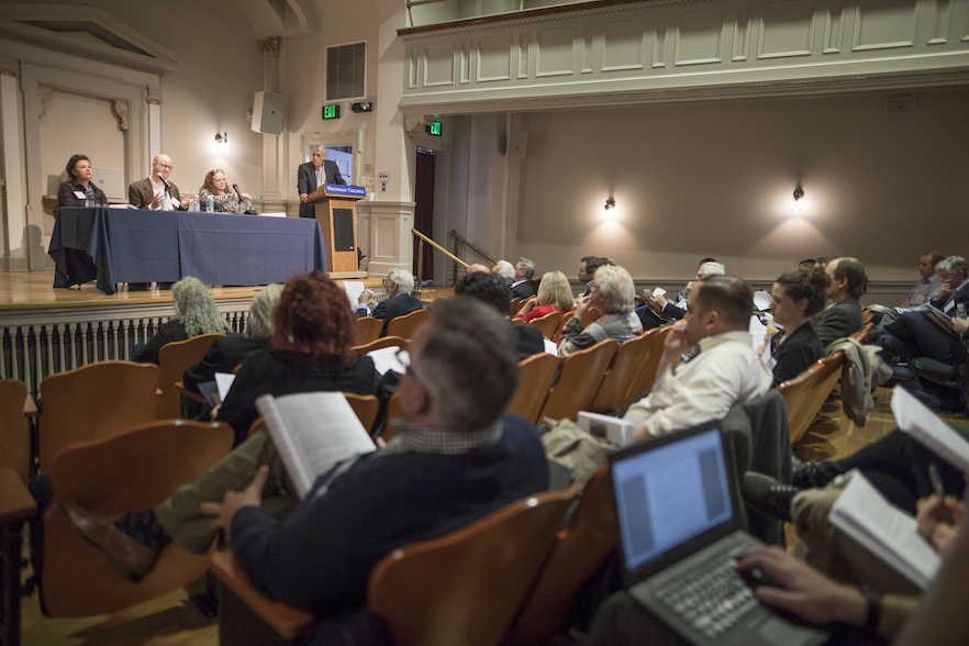 Philosophy professors and students attend a panel discussion at the 51st annual meeting of the Heidegger Circle, held at Whitman College for the first time, from March 30 to April 2.