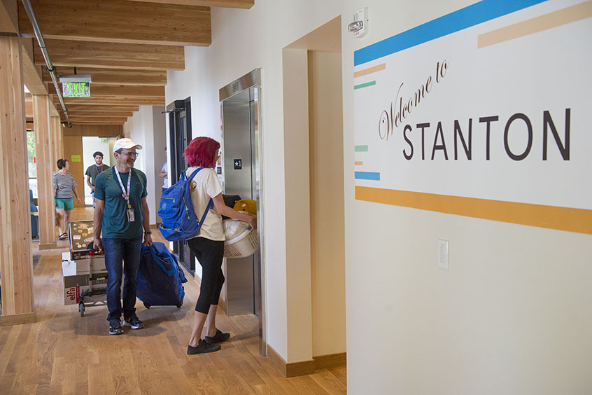 Students enter the newly opened Stanton Hall