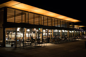 An exterior shot of Cleveland Commons at night.
