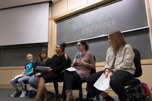 "Student panelists discuss their experiences in the ""Socioeconomic Status at Whitman: Understanding SES and the Experiences of First Generation and/or Working Class Students"" workshop during the 2019 Power and Privilege Symposium."
