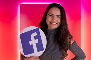 Bella Zarate poses in a photo booth at Facebook.