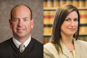 Chief Judge Robert Lawrence-Berrey '86 (left) of the Washington State Court of Appeals (Division III) and trial lawyer Andrea Burkhart '00