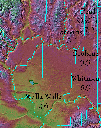 Radon In Eastern Washington County By County Data - Map eastern washington