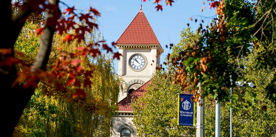 The clocktower of Memorial Building is viewed through fall leaves.