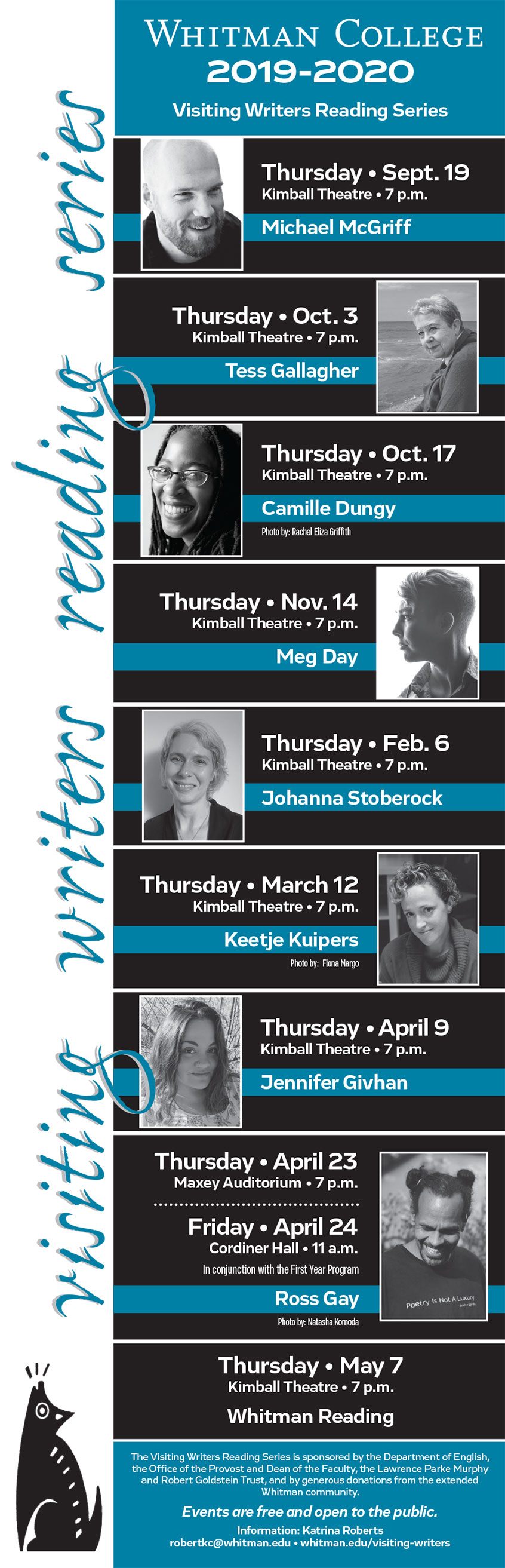 Visiting Writers Reading Series poster 2019-20