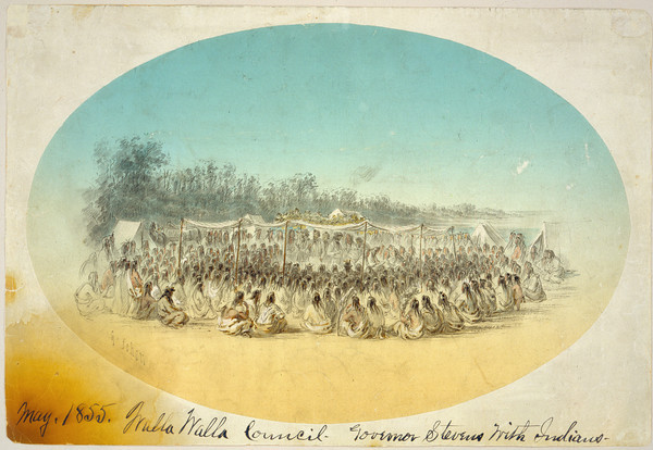 1855 Walla Walla Council Governor Stevens with Indians