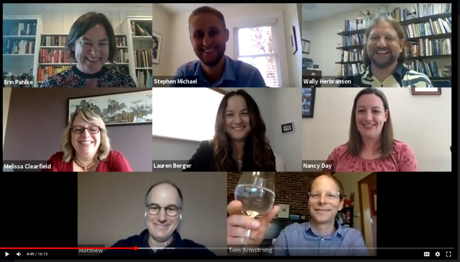 The psychology department faculty toast the graduating psychology majors from the class of 2020 after reading an ode to the students.