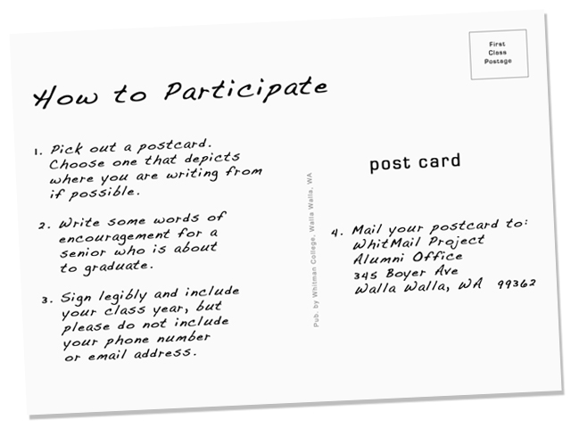 How to participate in Whitman's WhitMail Project. 1. Pick out a postcard. 2. Write some words of encouragement for a senior who is about to graduate. 3. Sign legibly and include your class year, but please do not include your phone number or email address. 4. Mail your postcard to: WhitMail Project, Alumni Office, 354 Boyer Ave, Walla Walla, WA 99362.
