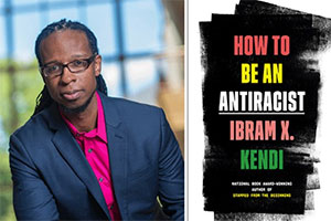 "A composite image of Ibram X. Kendi and the book cover for ""How to be an Antiracist"""