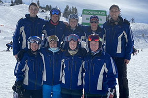 Members of the 2019-2020 Alpine Ski Team pose for a photo.