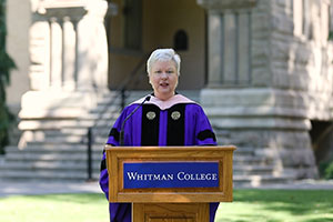 President Kathleen Murray gives her speech during a virtual commencement.