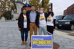 Weinberg and three family members campaign in Concord, New Hampshire