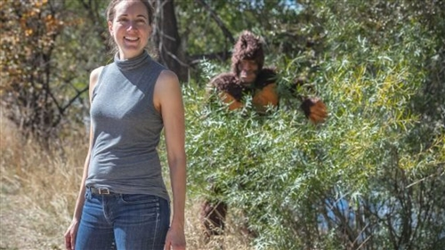 Laura Krantz with Bigfoot looming in the background