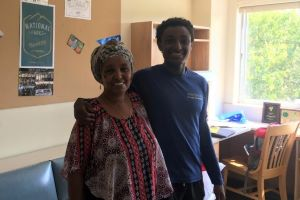 Saleh and his mother on first-year move-in day