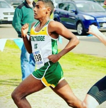 Saleh running during a high school race