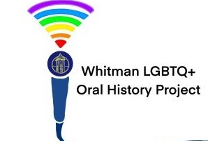 The text Whitman LGBTQ+ Oral History Project Logo is next to a microphone with multi-colored sound waves above it.
