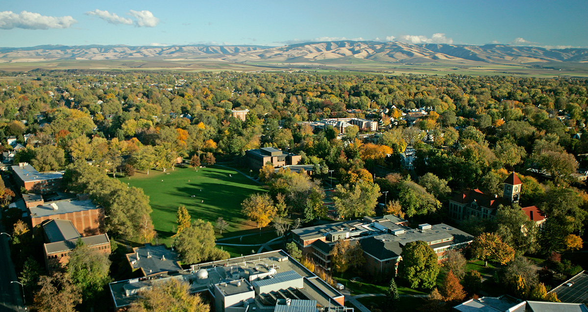 Aerial view of the Whitman College campus