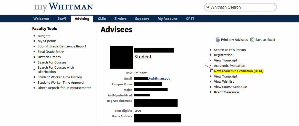 Whitman Advising Page Screenshot