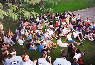 Students on the Amphitheater lawn