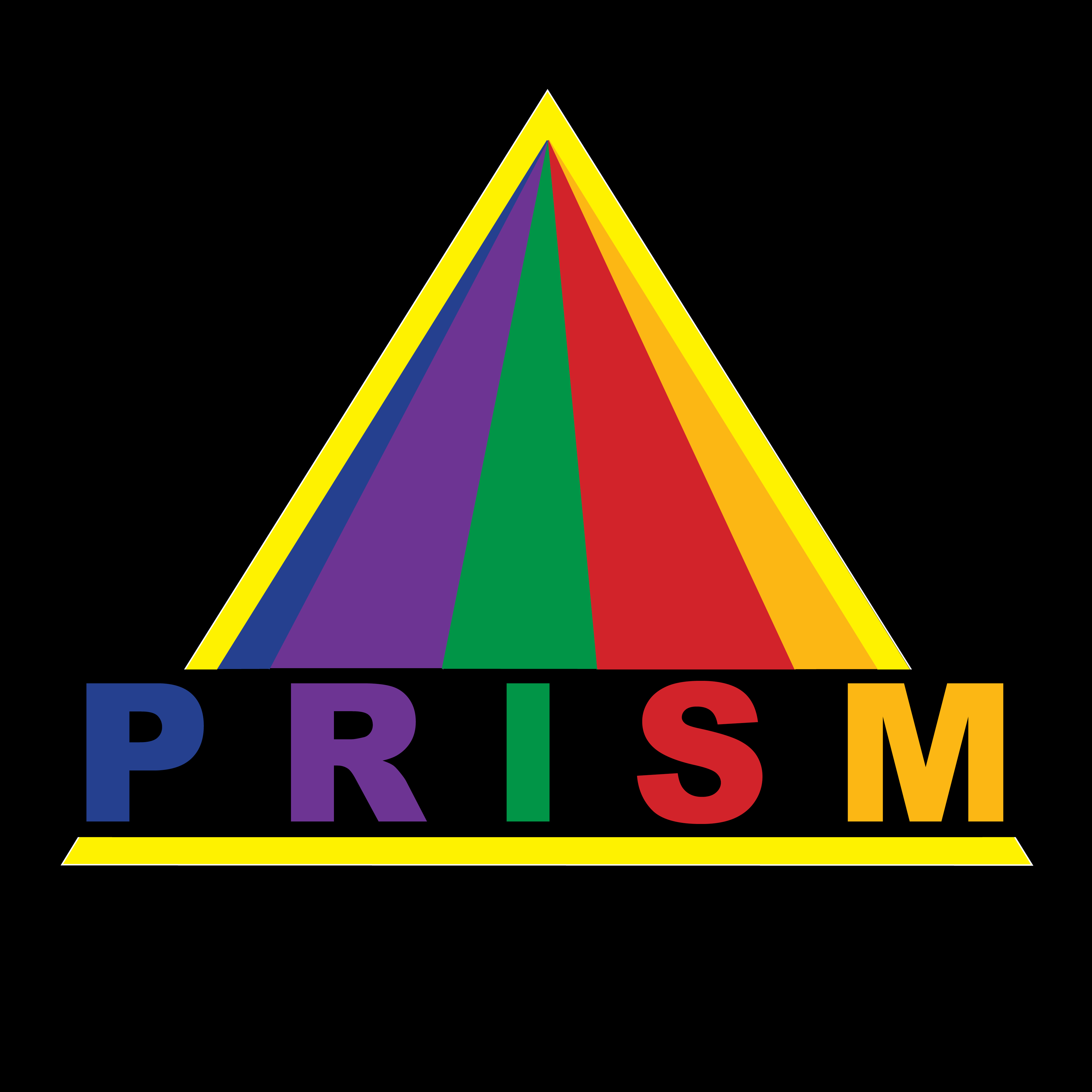 The PRISM Logo: the word PRISM and rays of light in rainbow colors, forming a triangle